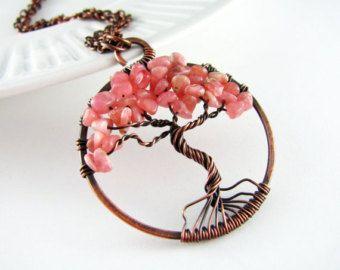 Levensboom ketting Wire Wrapped Hanger Rhodoniet en koperdraad gewikkeld sieraden