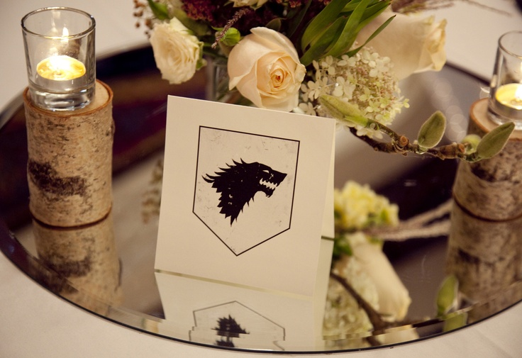 wedding reception table sign stark game of thrones