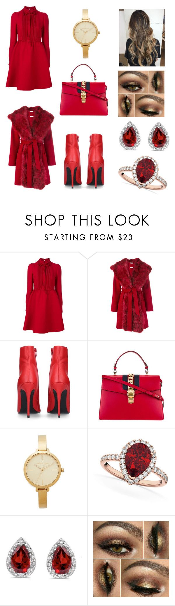 """""""Fall Trend - Lady In Red ❤️"""" by anca2 ❤ liked on Polyvore featuring Valentino, P.A.R.O.S.H., Kurt Geiger, Gucci, Michael Kors, Allurez and Amanda Rose Collection"""