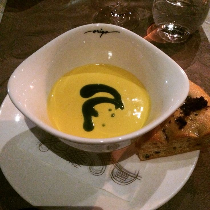 Carrot and goat cheese soup.