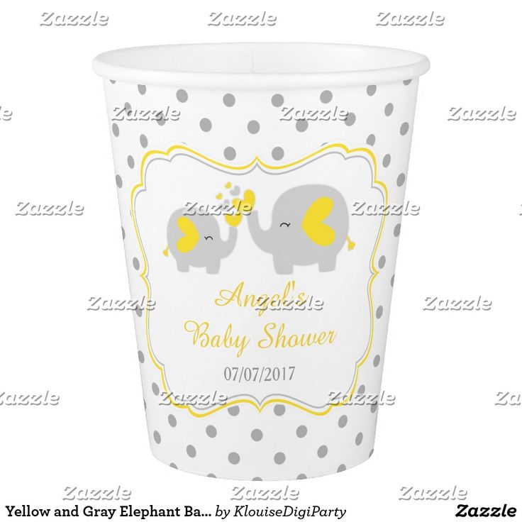 Yellow and Gray Elephant Baby Shower Paper Cup