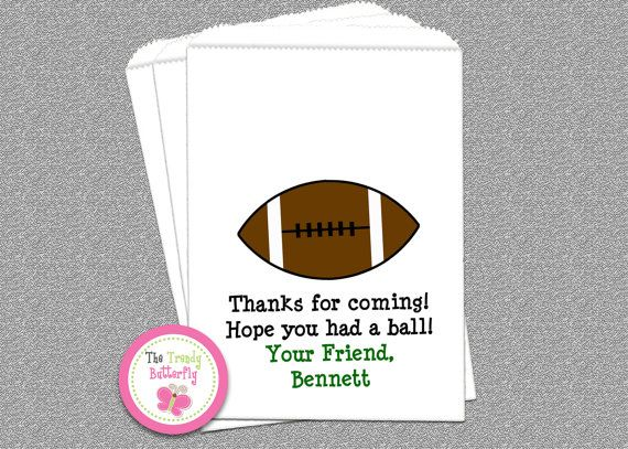 Football Party Favor Bag  Football Candy Any message can be put on the bag.  Great for Super Bowl! and Football Parties