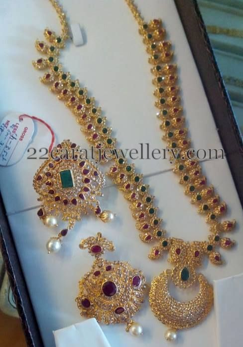 Jewellery Designs: Uncut Diamond Long Set and Pendants