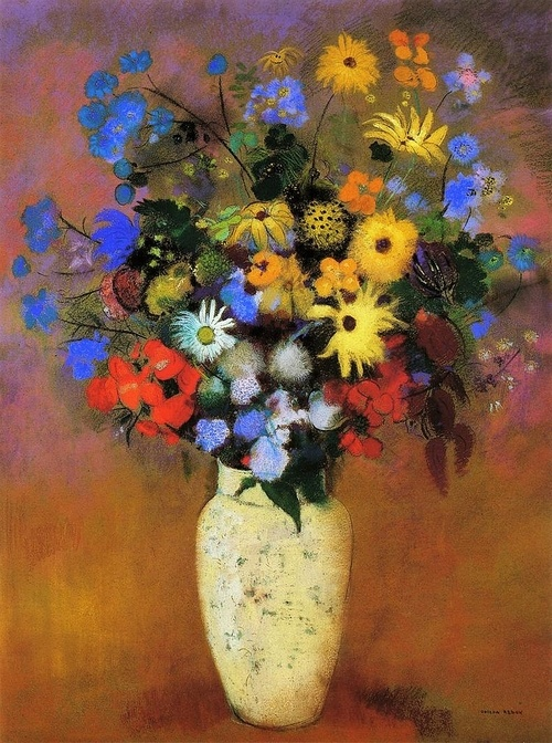 Odilon Redon, French symbolist painter and pastelist (1840-1916). 'White Vase with Flowers' (c.1914) Pastel