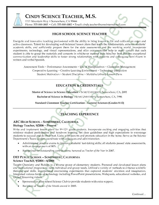 science teacher resume sample page1