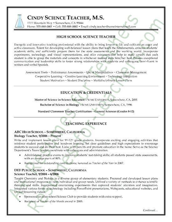Social Science Resume Objective Sample Resume Teachers Resume Cv   Resume  Objective Science Teacher