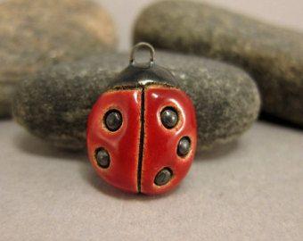 Ceramic Ladybug Pendant...Four Dots by elukka on Etsy