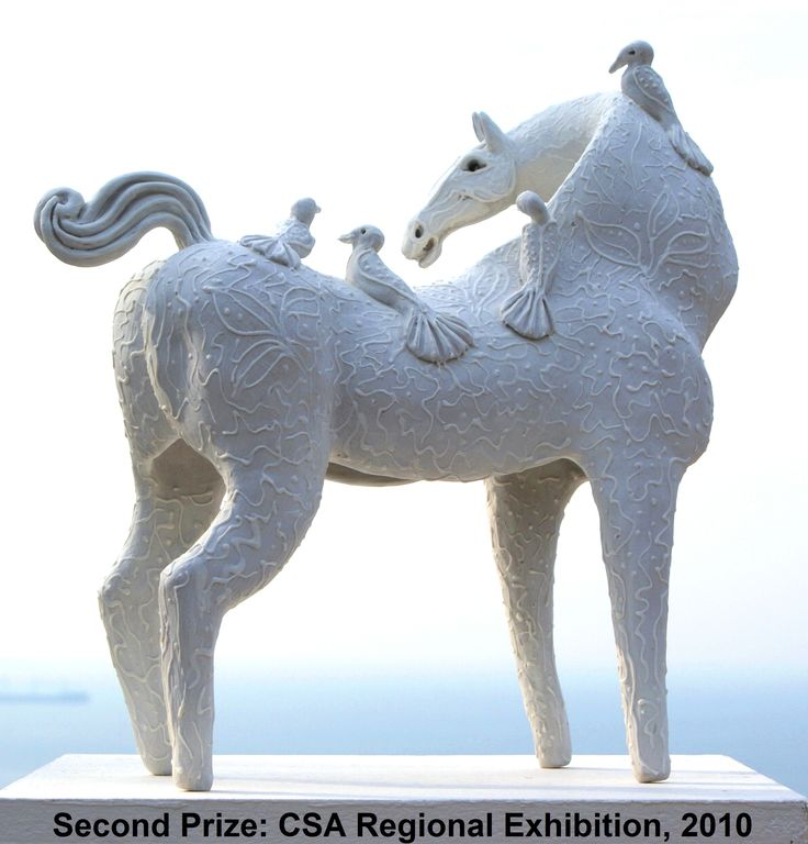 """White Mare With Birds""  Second Prize, SA Ceramic KZN Regional Ceramic Exhibition 2010 at ArtSpace Gallery, Durban South Africa. Now in the public collection of the William Humphreys Art Gallery in Kimberly, South Africa."