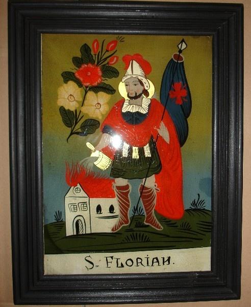 "Hinterglasmalerei ""St. Florian"" - Hinterglasbild"