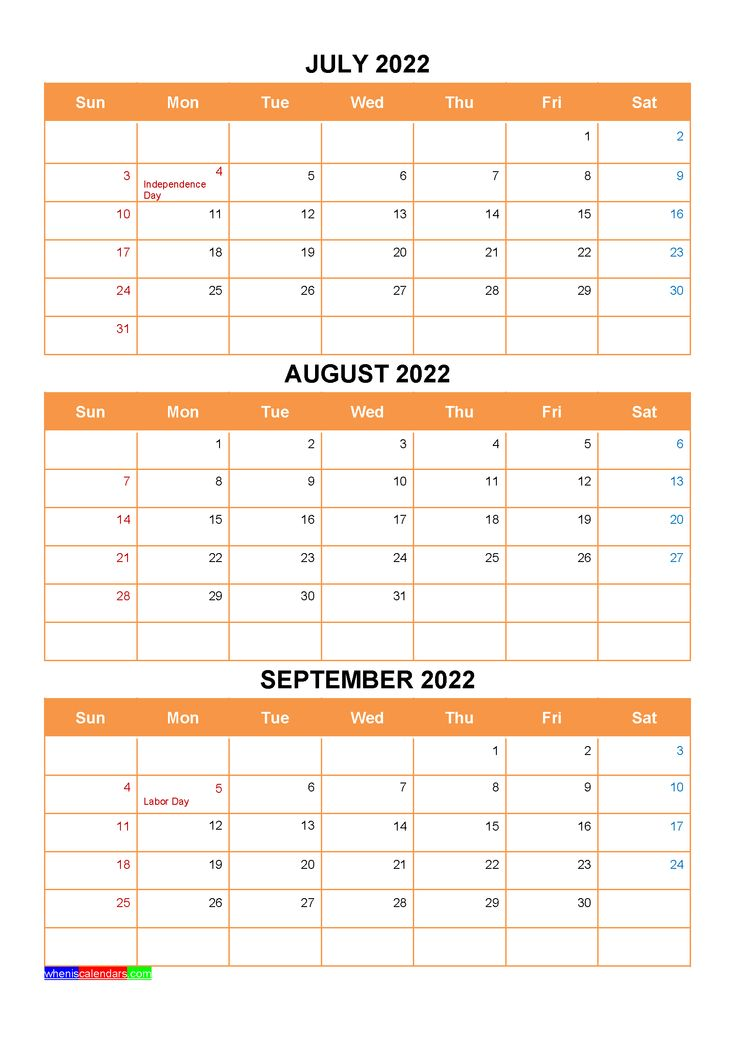 July August September 2022 Calendar with Holidays ...