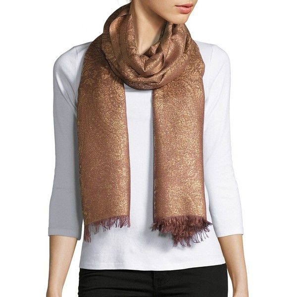 Lord & Taylor Women's Metallic Paisley-Print Fringed Scarf ($29) ❤ liked on Polyvore featuring accessories, scarves, gold, paisley scarves, fringe scarves, fringe shawl, metallic shawl and metallic scarves
