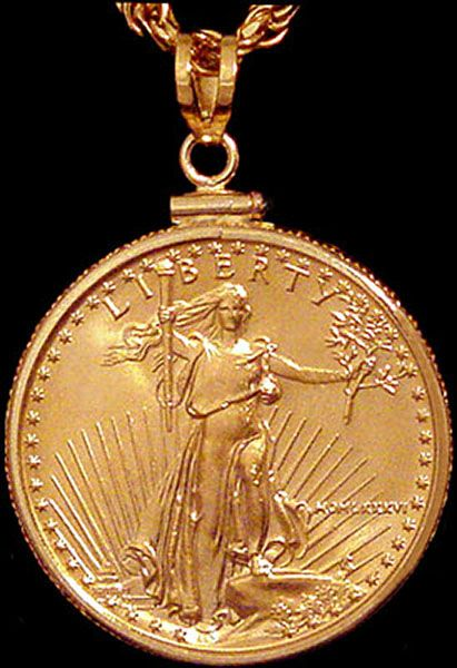 25-Dollar Gold Eagle Coin Pendant   via Coin Jewelry