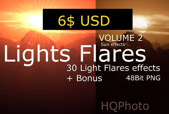Light Flare Effects Volume 2 by HQPhoto Store on @creativemarket