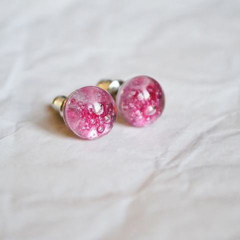 Pink bubbles fused glass earrings by Mylittlethings Jewelry #glassfusing #earrings #fused #glass #jewelry