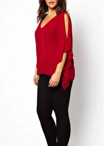Catching Open Back Cutout Shoulder Red T Shirt
