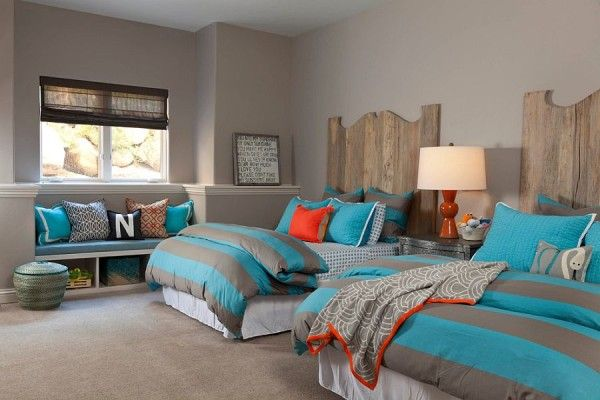 Transitional kids' bedroom in gray and blue with a dash of rustic beauty