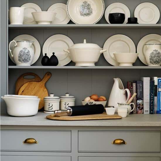 carrara marble, grey cabinets, brass hardware