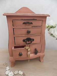 Shabby Chic Mini Chest of Drawers in Pink with 5 Drawers storage or ornament | eBay