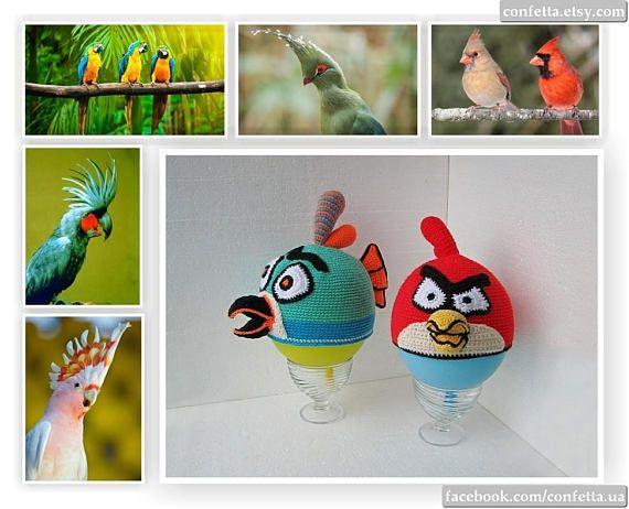 Baby Parrot crochet hat spring red ara wild bird hat green
