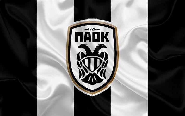 Download wallpapers PAOK FC, 4k, Greek football club, emblem, PAOK logo, Super League, championship, football, Thessaloniki, Greece, silk texture, flag