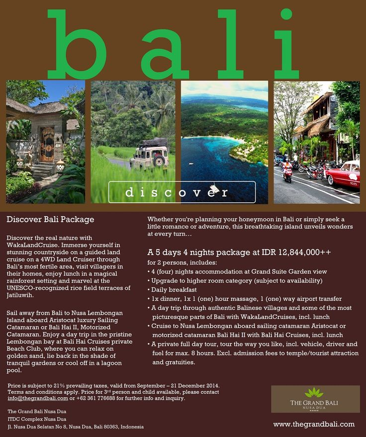 Off the beaten track with The Grand Bali Nusa Dua. A 5 days 4 nights package Discover Bali