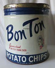 BON TON POTATO CHIPS LARGE VINTAGE 3 LB DISPLAY SIZED TIN, BON TON FOODS YORK PA