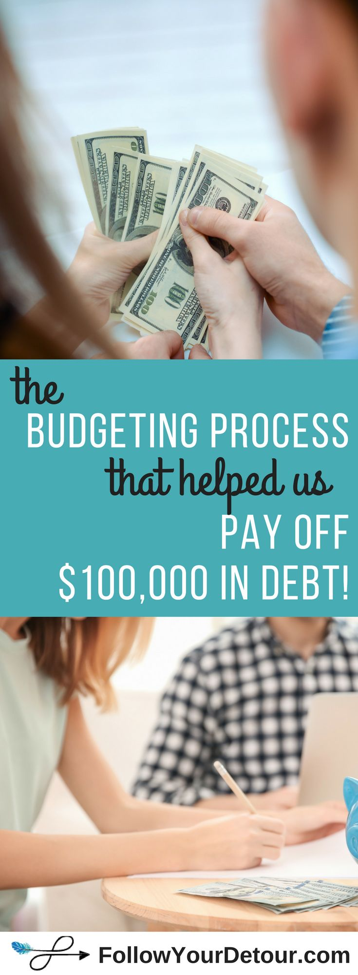 This travel couple shares the budgeting process they used to pay off $100,000 in debt, save $25,000, AND now travel full-time! They also created a #budgeting program and tool to teach YOU tips for how to get out of debt with an easy to use budgeting tool for couples and beginners. Living on a budget can be tough but its so worth it! #budget #debt #debtfree #finance  #travelmore #money #dreams #financialfreedom #savemoney