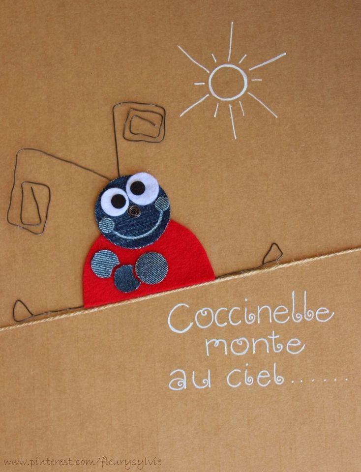 Coccinelle monte au ciel #jeans #recycle   http://pinterest.com/fleurysylvie/mes-creas-la-collec/ et www.toutpetitrien.ch