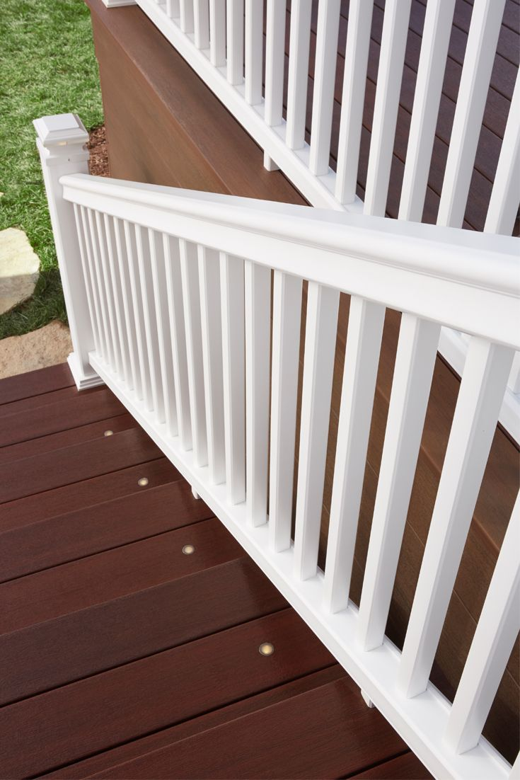 46 best fiberon railing images on pinterest railings lowes and this white symmetry railing is the perfect complement to our symmetry decking shown in cinnabar baanklon Images