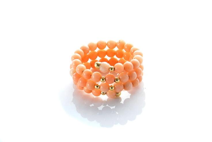 anello corallo rosa giappone spirale oro 18 kt 750  i gioielli del mare circeo terracina