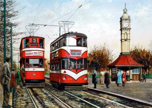 Peter Lapish - Oakwood Clock - Leeds - West Yorkshire - England - A No 3 Chamberlain Tram bound for Roundhay passes a No 1 Lance Corporal Tram en route to Lawnswood - 1953