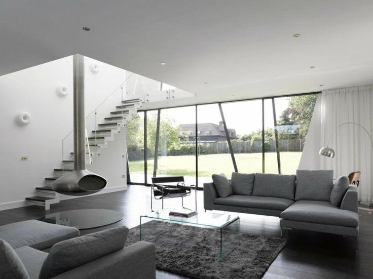 salon moderne gris et blanc - Salon Moderne Gris
