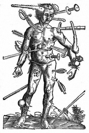 'Wound-man', woodcut, 16th century  By Hans von Gersdorf, published by H. Schott, Strasbourg, 1530