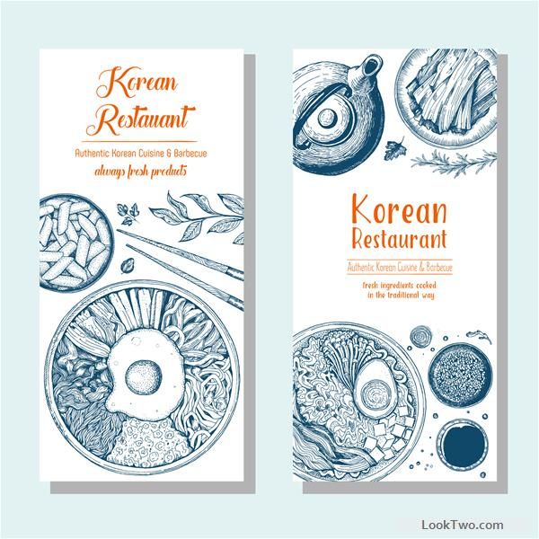 Different layout vertical menu illustration with food vectors. Amazing korean and asian food illustration as india ink colors. - free vector download