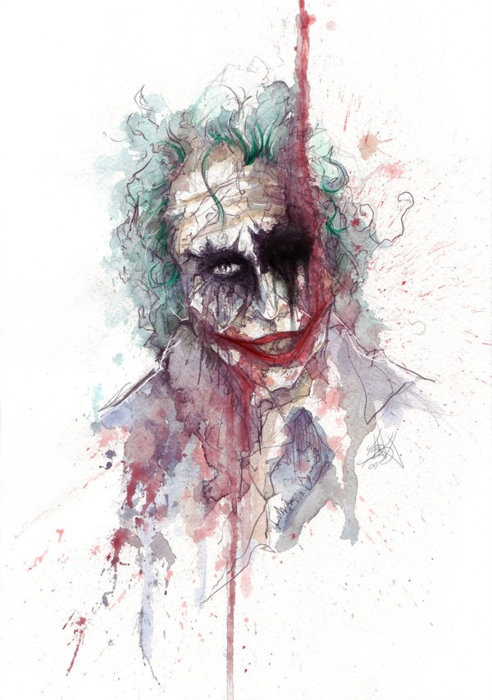 The Joker, the image is a little creepy. but the colors are so pretty.