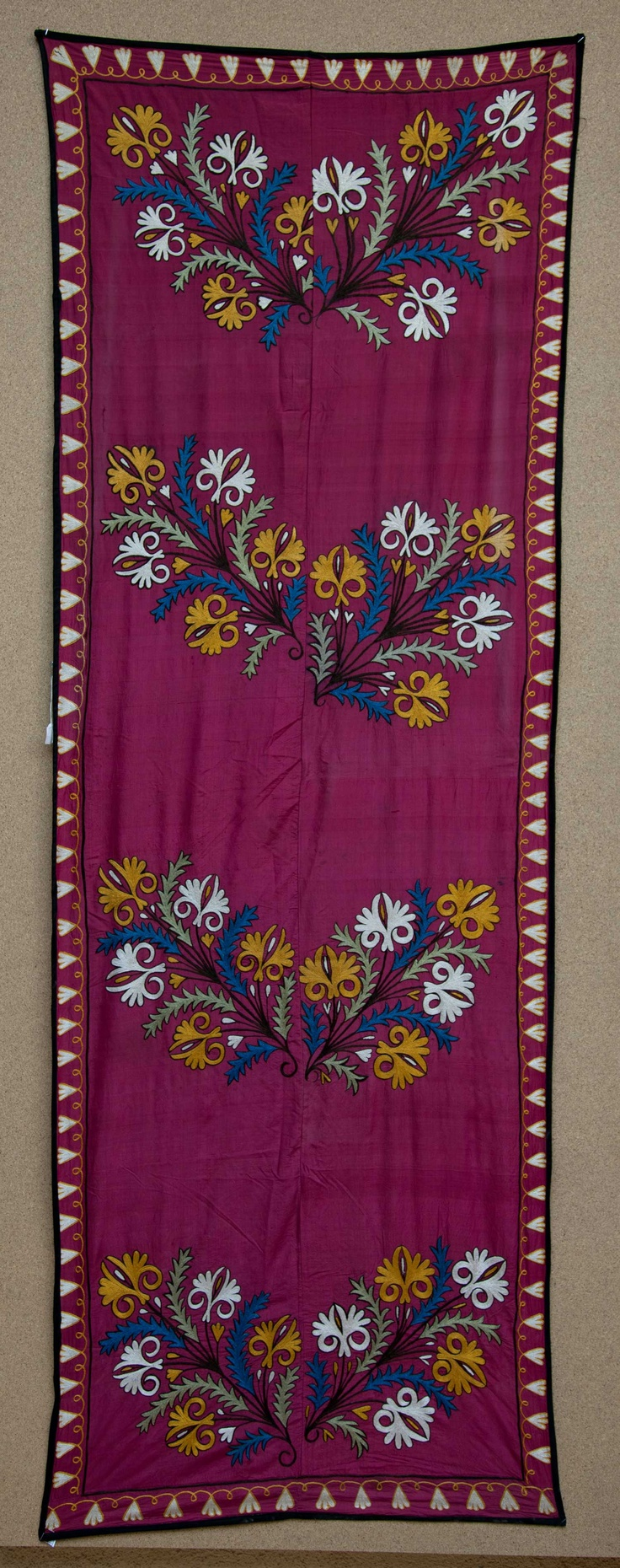 antique Uzbek Suzani Fragment, silk embroidery.
