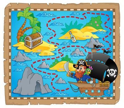 Stockfoto: Piraat · kaart · afbeelding · papier · kunst · palm