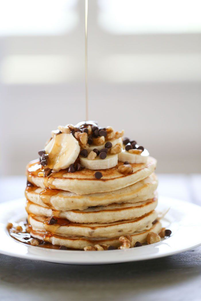 Banana Chocolate Chip Walnut Pancakes are so fluffy, soft and sweet that you might not need syrup! Except totally add syrup. Pancakes always make the perfect weekend breakfast.