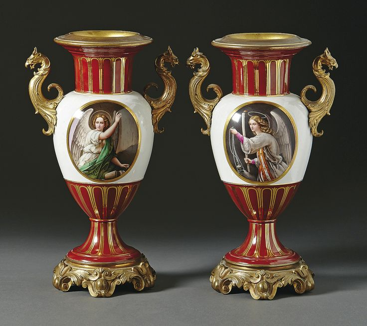 A pair of ornate vases with Portraits of Grand Duchesses Maria and Olga Nikolaewna of Russia, KPM (Berlin 1849-1870).