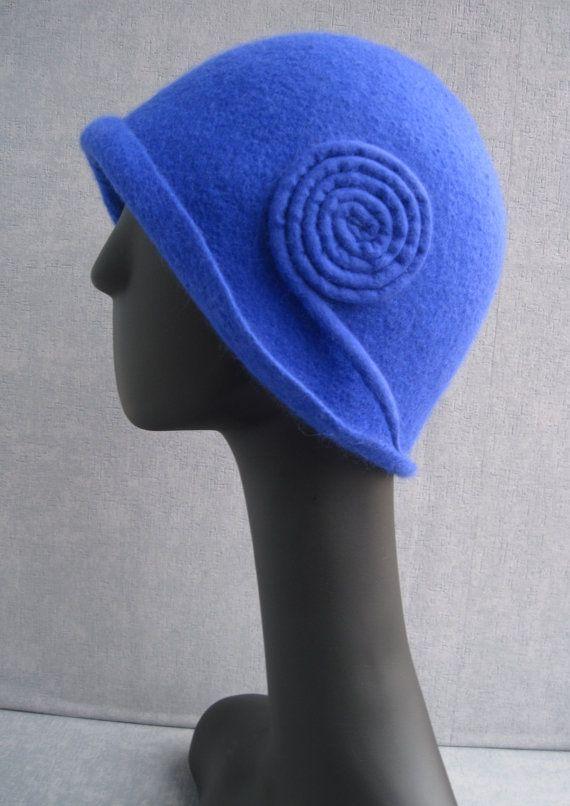 Felt hat cloche Rhapsody in Blue by VeronikaWoolFlowers on Etsy