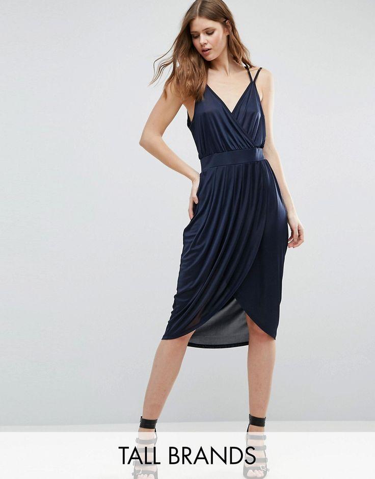 Vero Moda Tall Draped Wrap Front Dress - Navy
