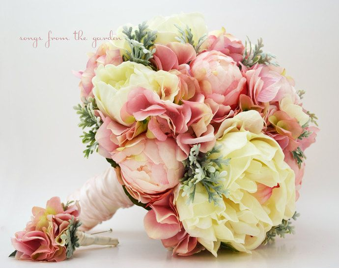 Bridal Bouquet Peonies Hydrangea Dusty Miller Pink, Grey and Ivory with Groom's Boutonniere - Customize for Your Colors by SongsFromTheGarden, $225.00 USD