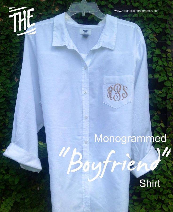"How to monogram a pocket on ""boyfriend shirt"