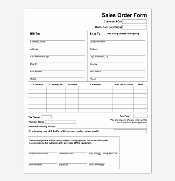 Sales Order Form Template Free Unique Sales Order Template 22 Formats Examples Word Excel Order Form Template Order Form Template Free Free Banner Templates
