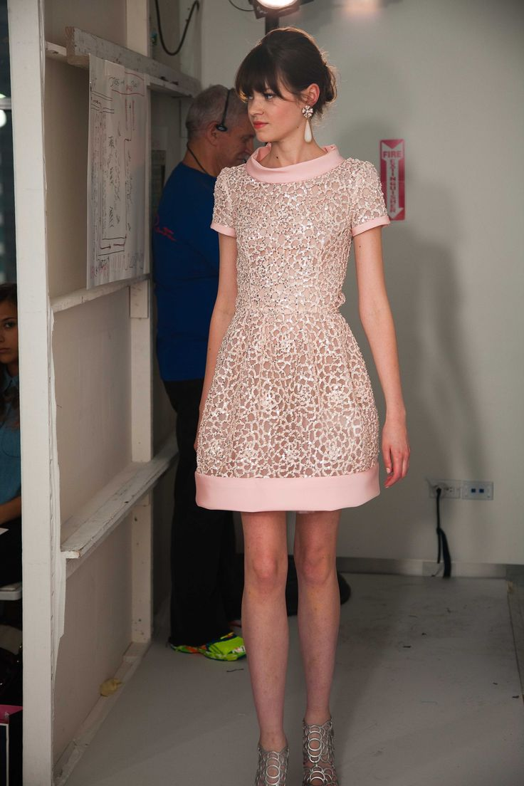 OSCAR DE LA RENTA RESORT 2013. Pale pink and shimmering silver sequins...