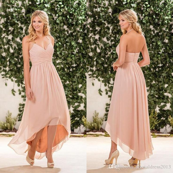 Buy wholesale bridesmaid dresses colors,bridesmaid dresses designs along with bridesmaid dresses for sale on DHgate.com and the particular good one-blush pink chiffon high low bridesmaid dresses cheap halter pleats back zipper long beach country garden maid of honor gown is recommended by crystaldress2013 at a discount.