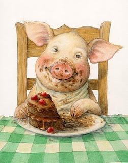 Petra Brown: Sort of what I look like eating cake....