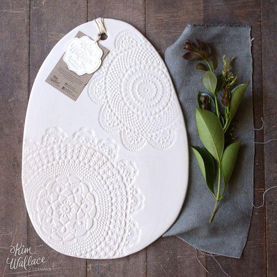 Large Vintage Lace serving board ~ white 05, Handmade Australian Ceramics - KW Ceramics