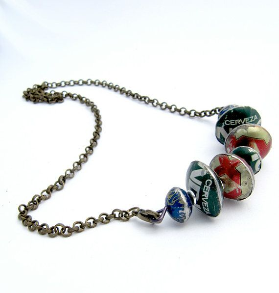 bottlecap bar necklace of handmade metal cap beads - eco-gift for mexico lovers LIMITED EDITION