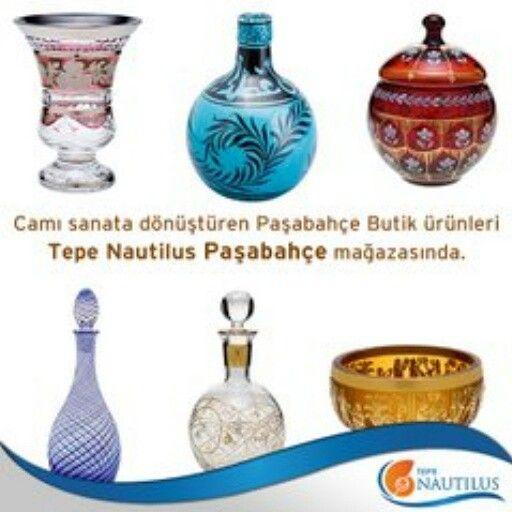 Camı sanata dönüştüren Paşabahçe Butik ürünleri Tepe Nautilus Paşabahçe mağazasında.